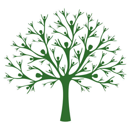 Human Tree. A vector tree created of human silhouettes. Concept of support, help and teamwork. Family tree.