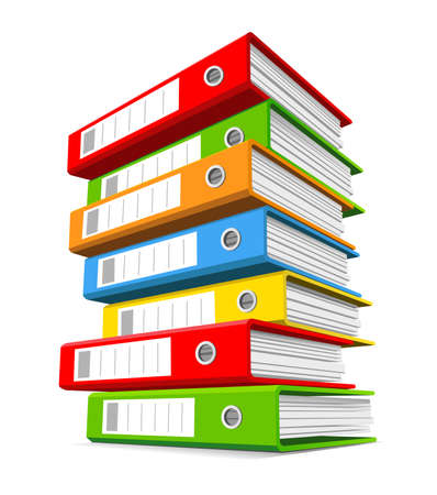 office supply: Pile of colorful binders isolated on a white background. Concept of office supply, information classification. Vector illustration.