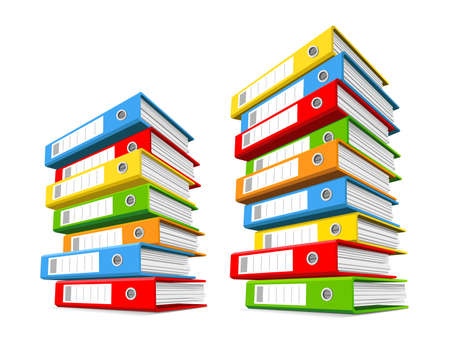 Two piles of colorful binders.  Concept of office supply, information classification. Vector illustration. Illustration