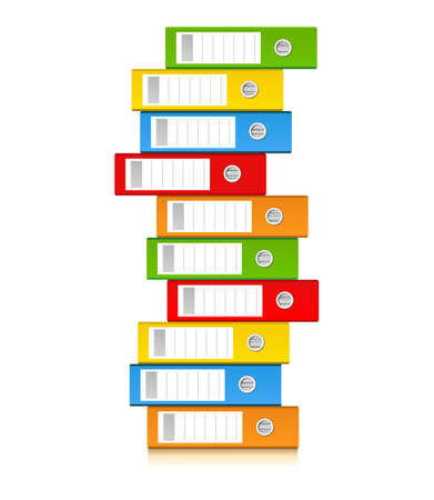 pile of documents: Pile of colorful binders isolated on a white background. Concept of office supply, information classification. Vector illustration.