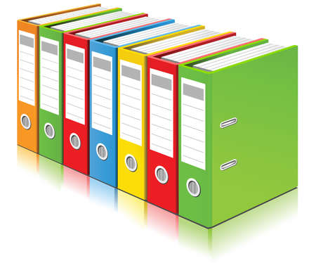 Colorful ring binders full with office documents and business information on a white background. Vector illustration.