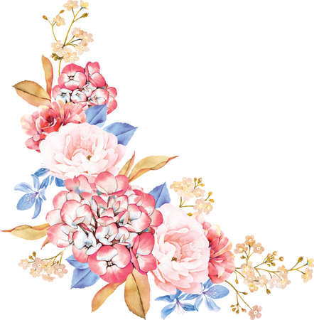 bunch of flowers: Floral bunch of roses, blue leaves, branches on white background. Valentines background. Watercolor illustration
