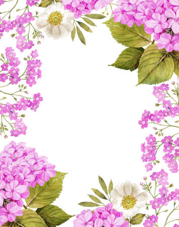 forget me not: Jasmine, white roses and forget me not background composition in pink