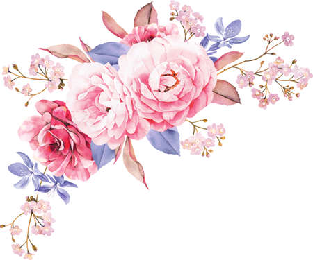 Floral bouquet of roses, blue leaves, branches on white background. Valentines background. Watercolor illustration