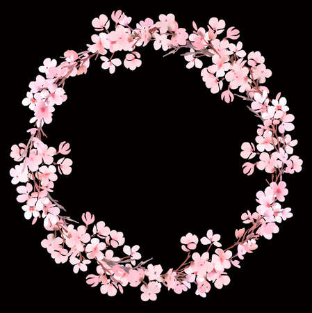 Spring pink blossom watercolor wreath on dark Stock Photo