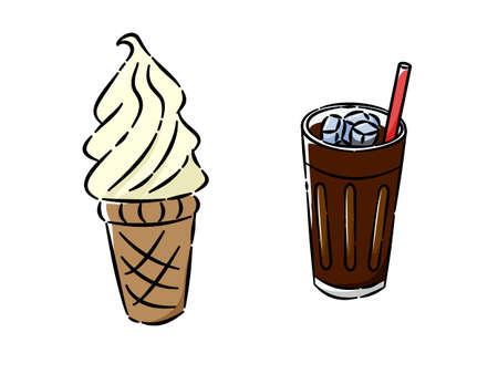 soft cream and ice coffee icon