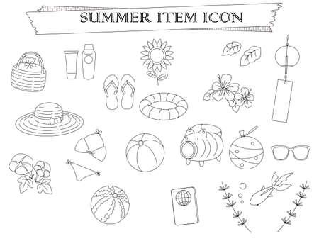 Summer item icon set Vettoriali