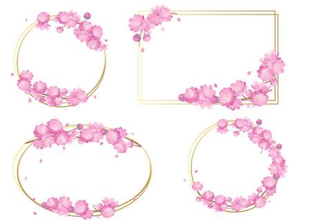 Peach Blossoms spring frame vactor illustration  イラスト・ベクター素材