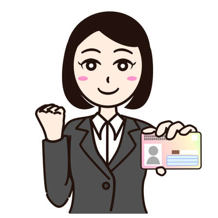 Woman business suit with smartphone or personal id card Stock Illustratie