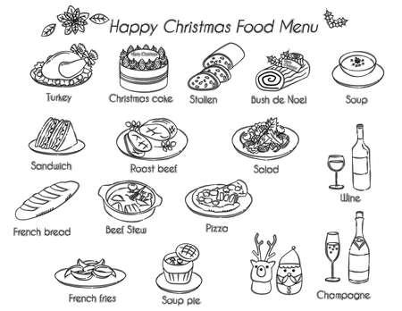 Christmas food icon illustration