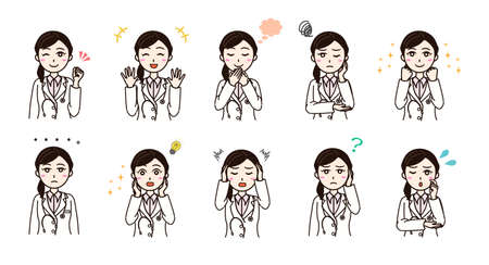 Woman with white coat various emotion set Vector Illustratie