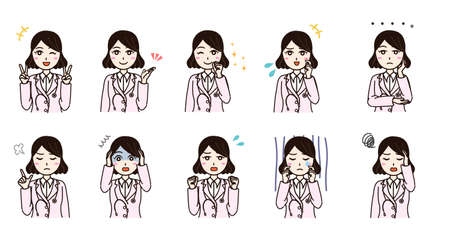 Woman with white coat various emotion set