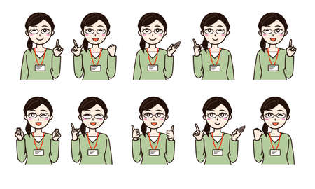 Woman with business casual smile set Vector Illustratie