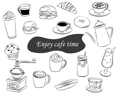 Cafe icon drink food simple line vector illustration