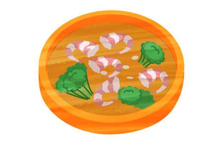 Shrimp Ahijo Spain Bar Simple Cute Icon Vektorové ilustrace