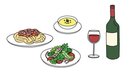 Pasta, soup, salad, wine, lunch