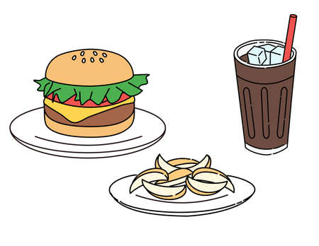 Hamburger, french fries, cola, set