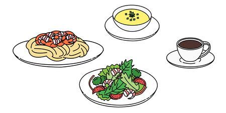 Pasta, salad, soup, coffee set