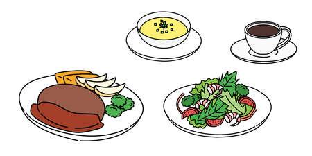 Hamburger, salad, soup, coffee, set