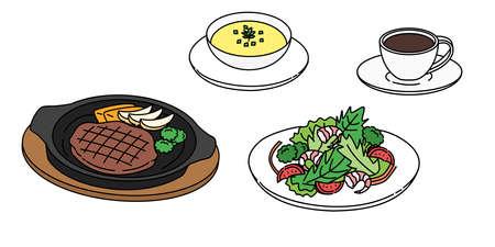 Steak, salad, soup, coffee, set