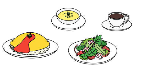 Omelet rice, soup, salad, coffee, set