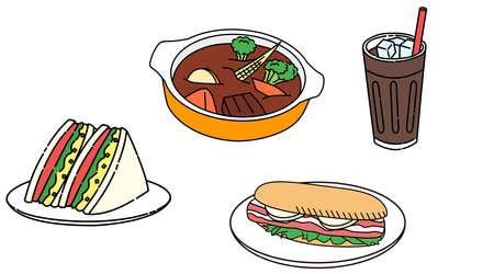 Sandwiches, beef stews, drinks, sets