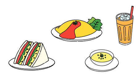 Sandwiches, omelets, soups, breakfasts, sets