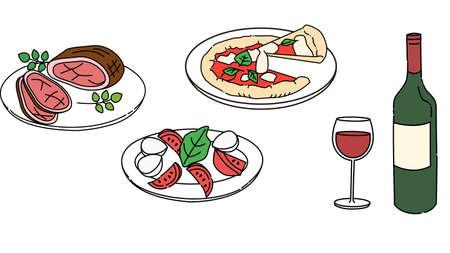 Roast beef, caprese, pizza, wine, set
