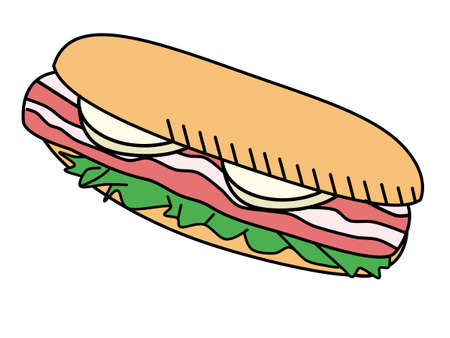 Sandwiches, bacon, cheese, Spanish food Vektorové ilustrace
