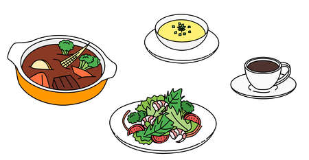 Beef stew, salad, soup, coffee, set