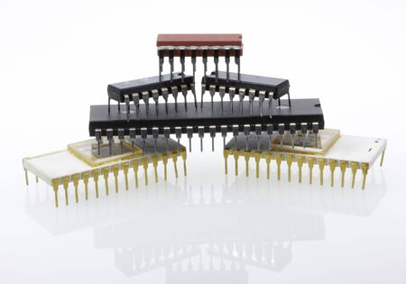 pyramidal heap of different microchips