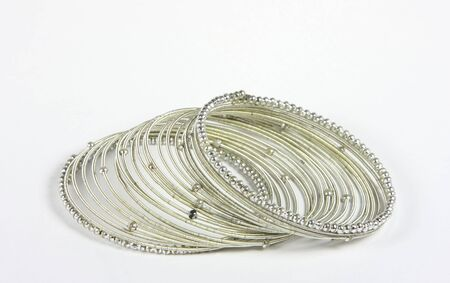 anklet: silver spiral bracelet on white