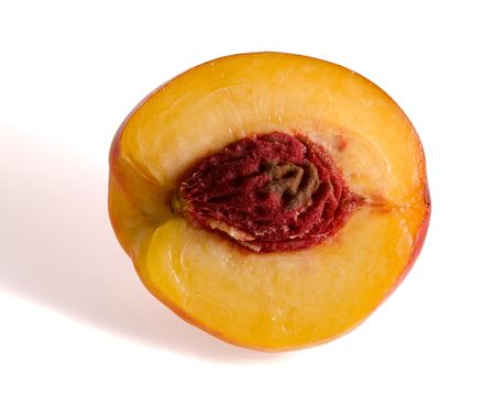 half of the peach, front view