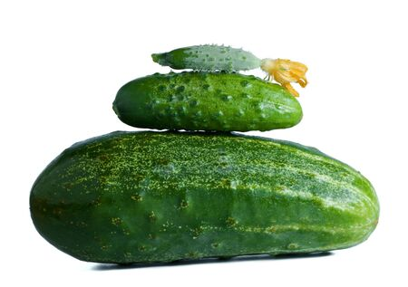 cuke: three cucumbers different size