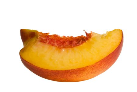 slice of peach on white background Stock Photo
