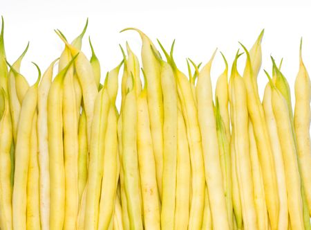 leguminous: Yellow pod beans isolated on white as harvest background