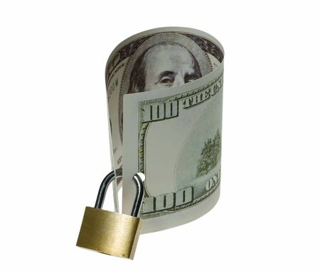 Locked money as a symbol of savings and guarantee Stock Photo