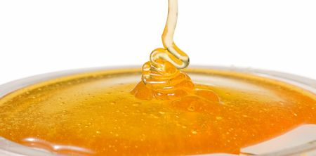 Flow of the honey on white background Stock fotó