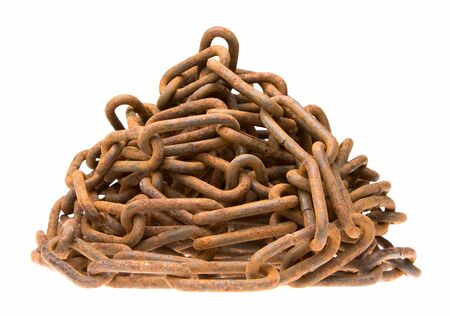 Heap of strong solid rusty chain photo