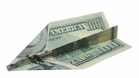 crumple: dollar banknote folded as an airplane, business concept