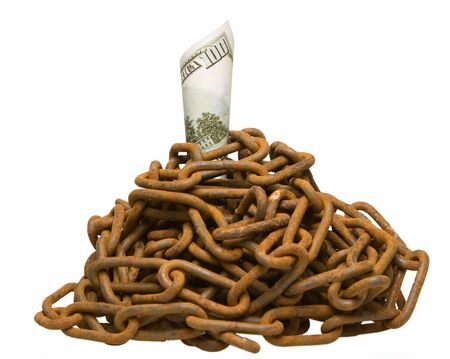Money secured by heap of old chain, isolated on white photo