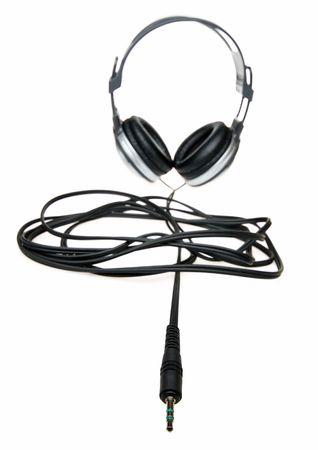 Modern headphones isolated on white photo