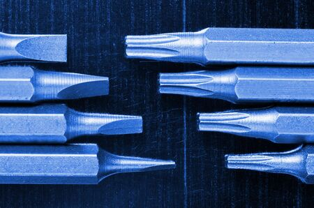 replaceable: Tool kit of screwdriver replaceable bits, blue toned