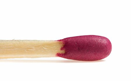 Macro of red head matchstick isolated over white Stock fotó