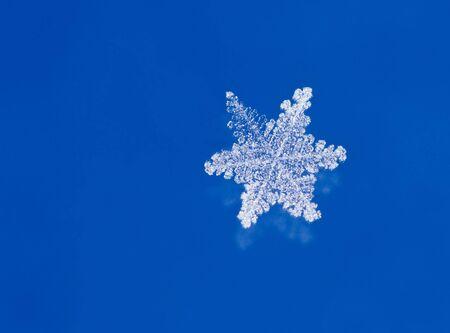 microscopisch: Super macro-opname van natuurlijke glitter sneeuwvlokken