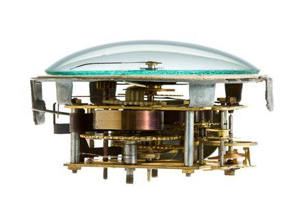 Clockwork obsoleto isolato su sfondo bianco  Archivio Fotografico