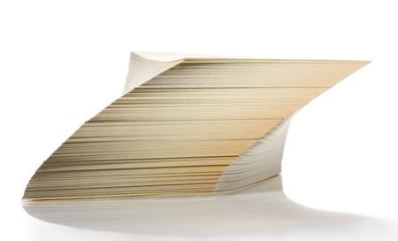 shifted: Shifted and tilted paper stack isolated on white Stock Photo