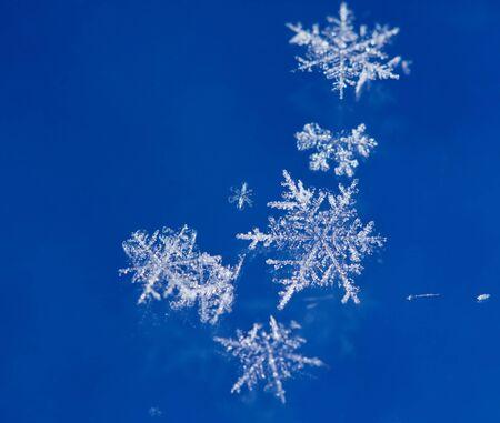 Macro of natural brilliant snow flakes