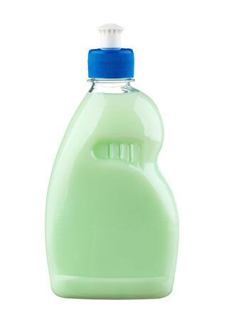 lavar platos: Lavaplatos l�quido de la botella verde aislado en blanco