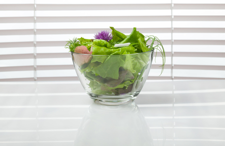tendrils: Spring onions, lettuce, dill and pea tendrils diet salad in glass bowl over jalousie background Stock Photo